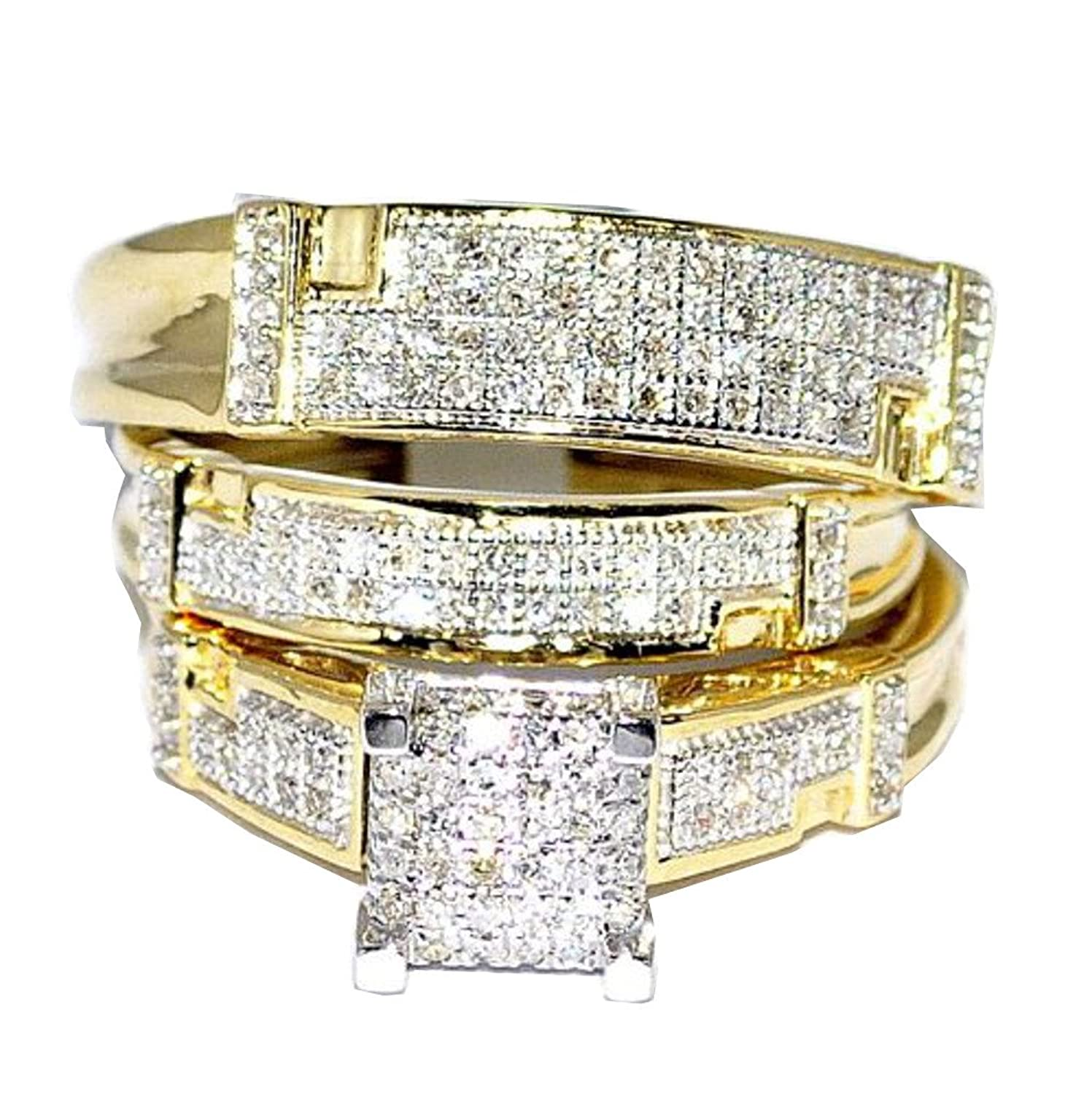 amazoncom yellow gold trio wedding set mens women rings real 12cttw diamonds pave i2i3 clarity ij color jewelry - Cheap Wedding Rings Sets For Him And Her