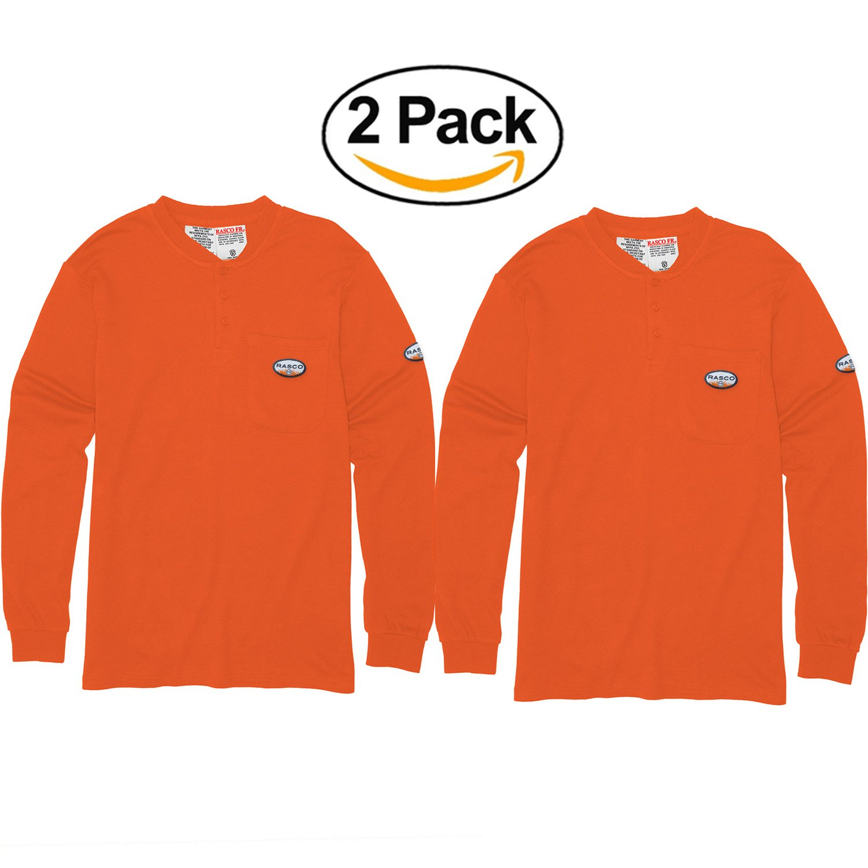 2個パックメンズRasco Flame ResistantオレンジヘンリーTシャツ B071ZWDP4X L