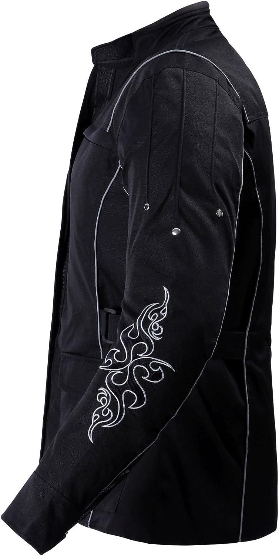 S Ledershop-online 1509 Bangla Damen Motorrad Jacke Bikerjacke Textil schwarz mit Tribalmuster Gr