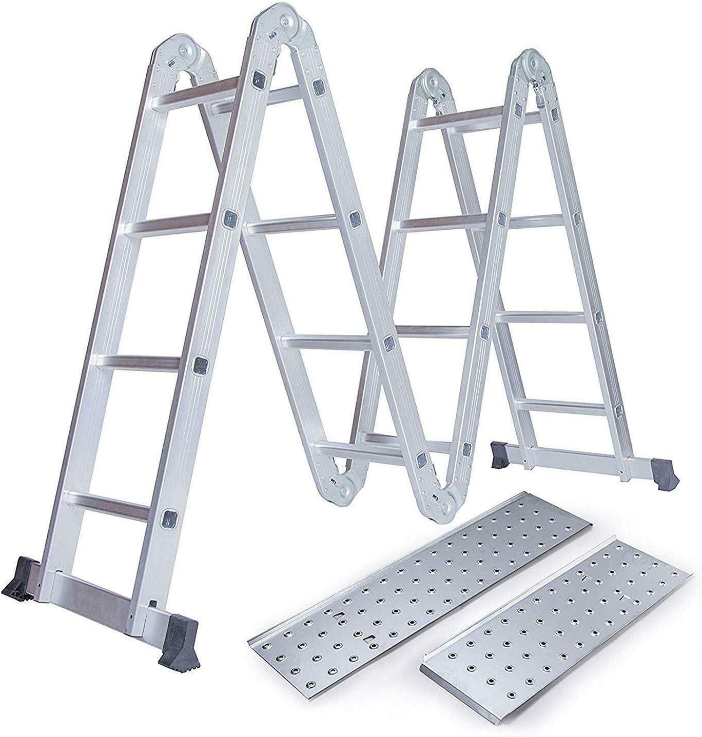 Escalera plegable de 4,7 m multiusos extensible de aluminio escalera con plataforma solamente: Amazon.es: Bricolaje y herramientas