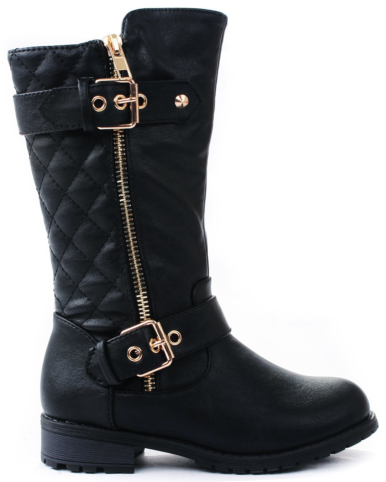 Kids Girls Mango21 Black Dual Buckle/Zipper Quilted Mid Calf Motorcycle Boots-3