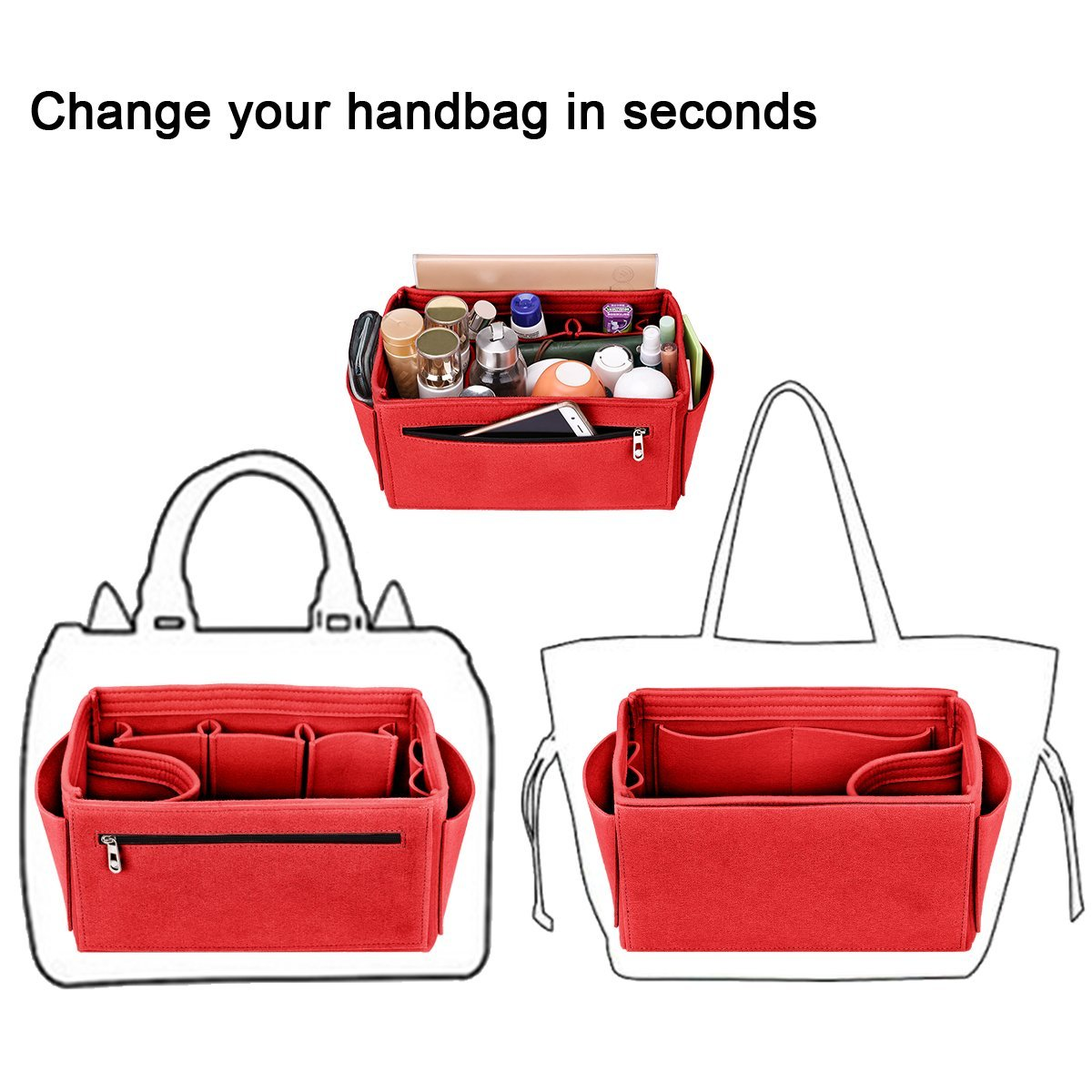 Medium, Black 4 Sizes Fit LV Speedy 25-40 Neverfull Felt Insert Purse Organizer Diaper Bag Organizer 5 Colors Handbag Organizer Bag in Bag