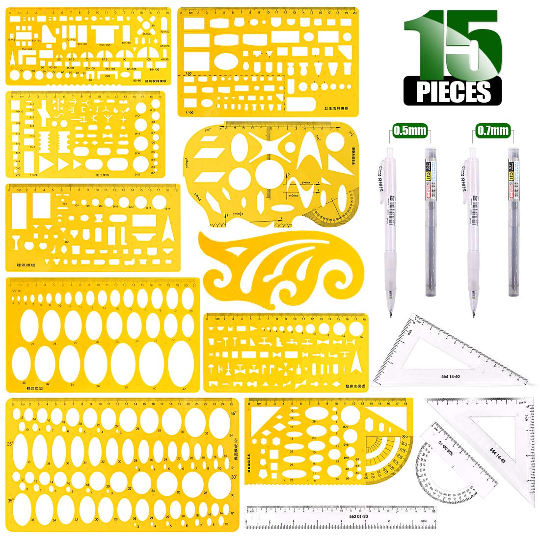 Keadic 15 Pieces Curve and Template Ruler Kit Protractor,Circle Template, French Curve Ruler and Mechanical Pencil for Drafting Illustrations Architecture & School Work by Keadic