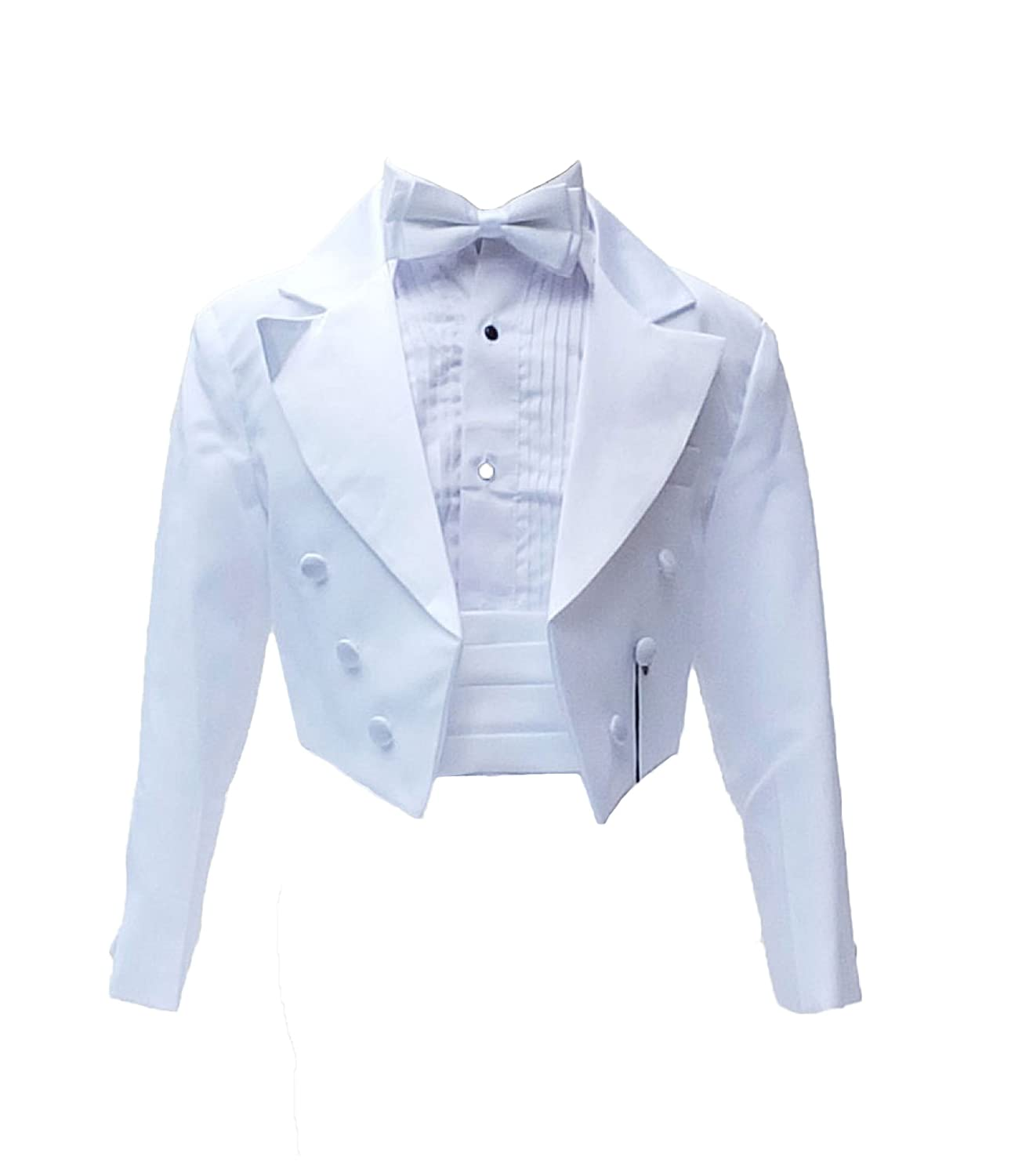 Baby Boys Tuxedo Tail Suit in bianco 5 pz per battesimo matrimonio Paggio cena