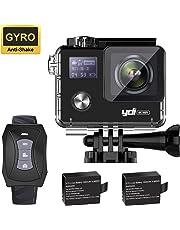 YDI G80 4K Action Kamera WiFi Unterwasserkamera Gyro Anti-Shake 20MP Ultra HD 30M Wasserdicht Sport Cam mit Fernbedienung, 2 * 1050mAh Batterien für Radfahren Schwimmen Klettern Tauchen