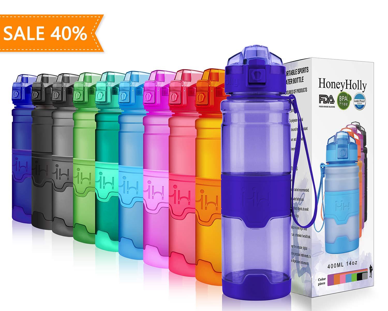 HoneyHolly Botella de Agua Deporte 400ml/500ml/700ml/1l, sin bpa tritan plastico, Reutilizables a Prueba de Fugas Botellas Potable con Filtro para niños, ...