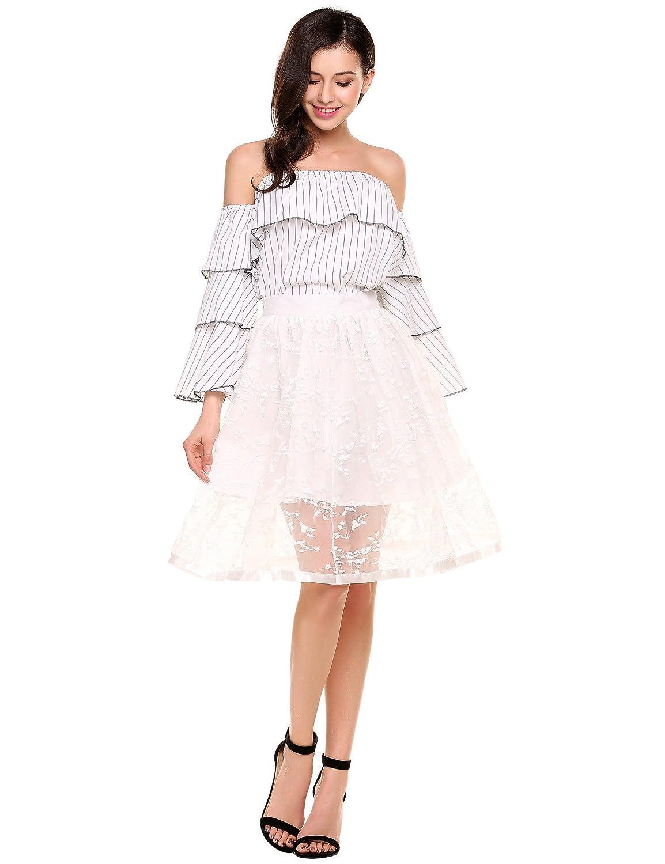 Zeagoo Women's Basic Versatile Mesh Embroidery Tutu Elastic Short Floral A-Line Skirt