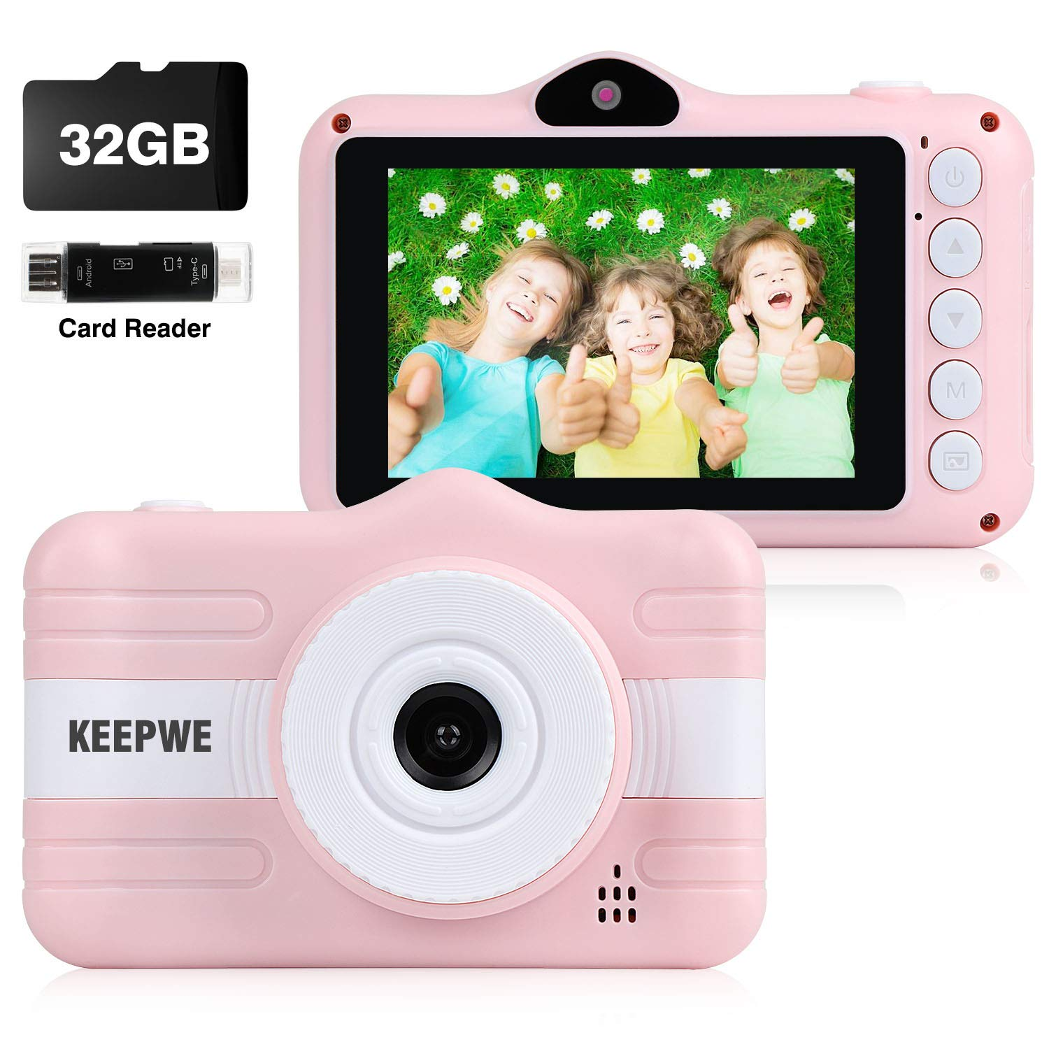 Kids Camera, Digital Camera for Kids Gifts, Camera for Kids 3-10 Year Old 3.5 Inch Large Screen with 32GB SD Card, SD Card Reader, 2019 Upgraded (Pink) by keepwe
