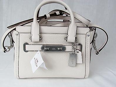 Coach Mini Swagger 20 in Pebble Leather Cream White 35798  Handbags   Amazon.com 5f6438a166