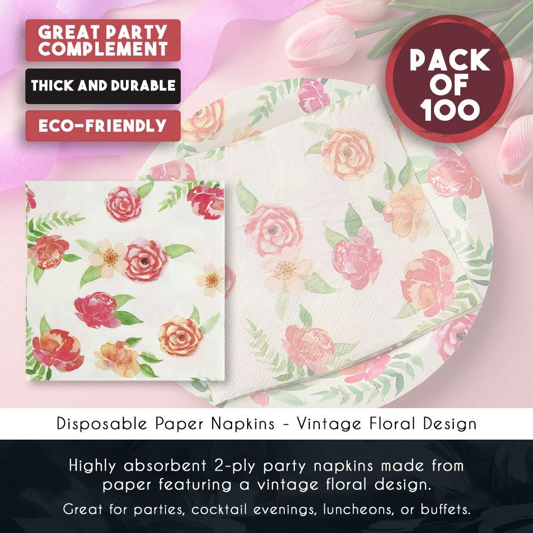 Amazon Com Floral Paper Napkins Vintage Flowers Party Napkins 6 5 Inches 100 Pack Industrial Scientific