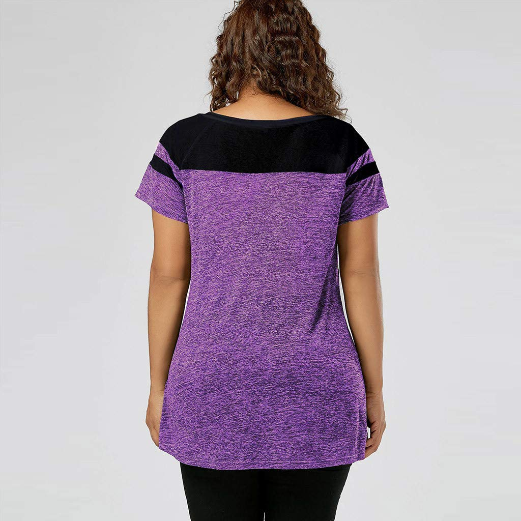 Short Sleeve Tee Blouse for Women,Amiley Women Patchwork Plus Size Short Sleeve Top Shirt Drawstring V Neck Casual Blouse (X-Large, Purple) by Amiley Womens Short Sleeve Tops (Image #2)