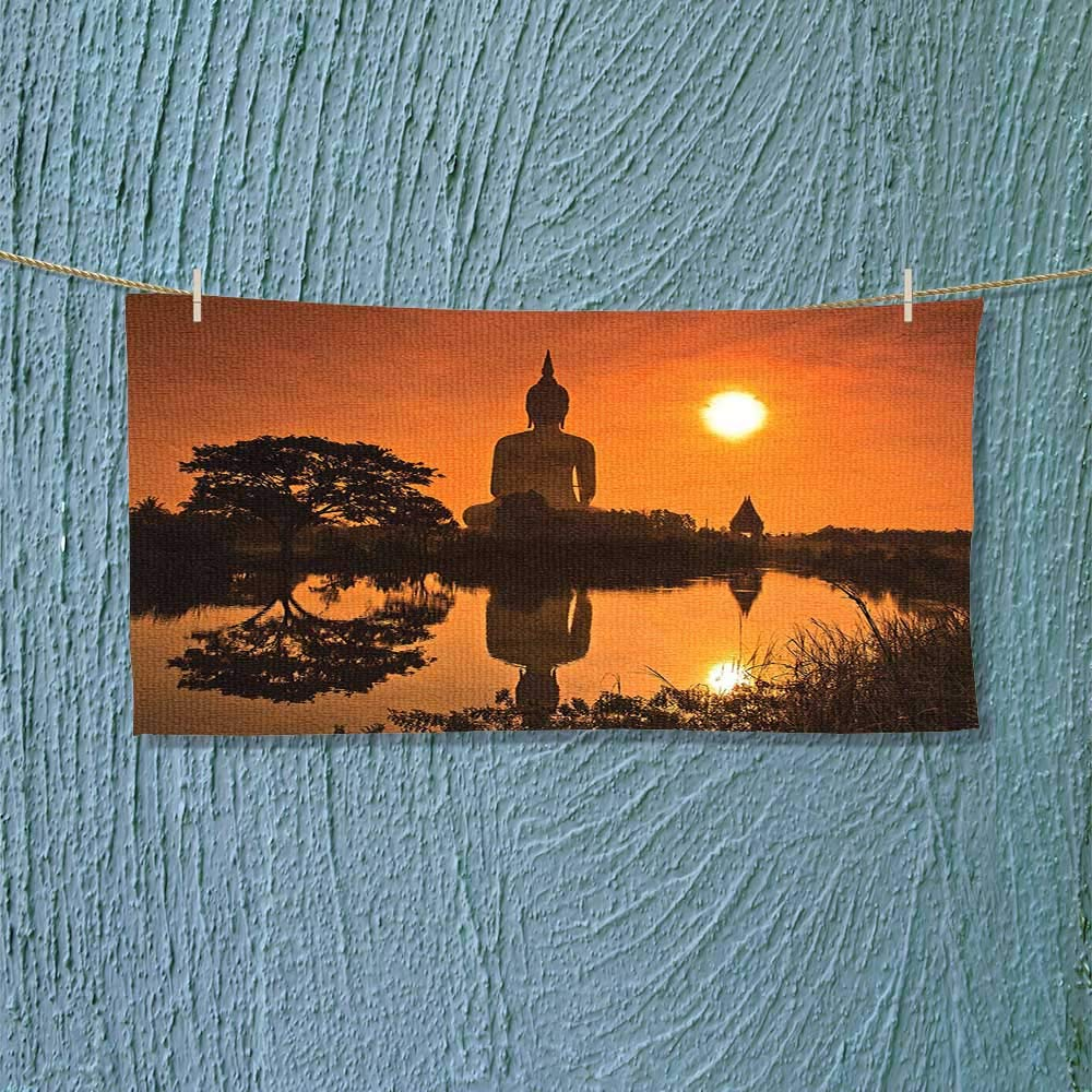 Nalahome Lightweight Towel Big Giant Statue by The River at Sunset Thai Asian Culture Scene Yin for Home, Hotel and Spa L27.5 x W11.8 inch by Nalahome