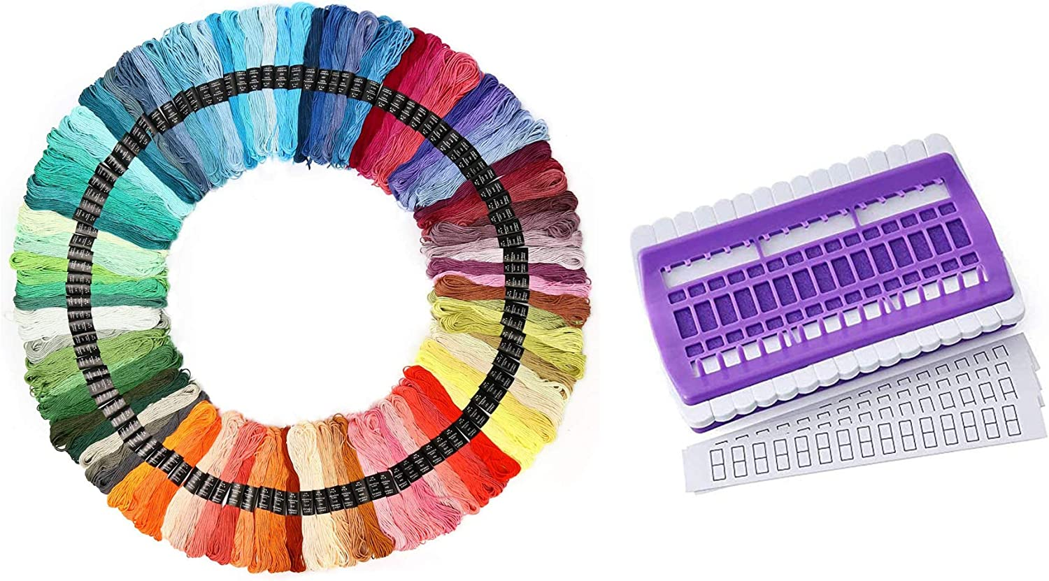 Maydear Cross Stitch Kit 6 Pieces Cotton Aida Fabric 6 Pieces Hoop Rings 100 Skeins Polyester Cotton Embroidery Thread