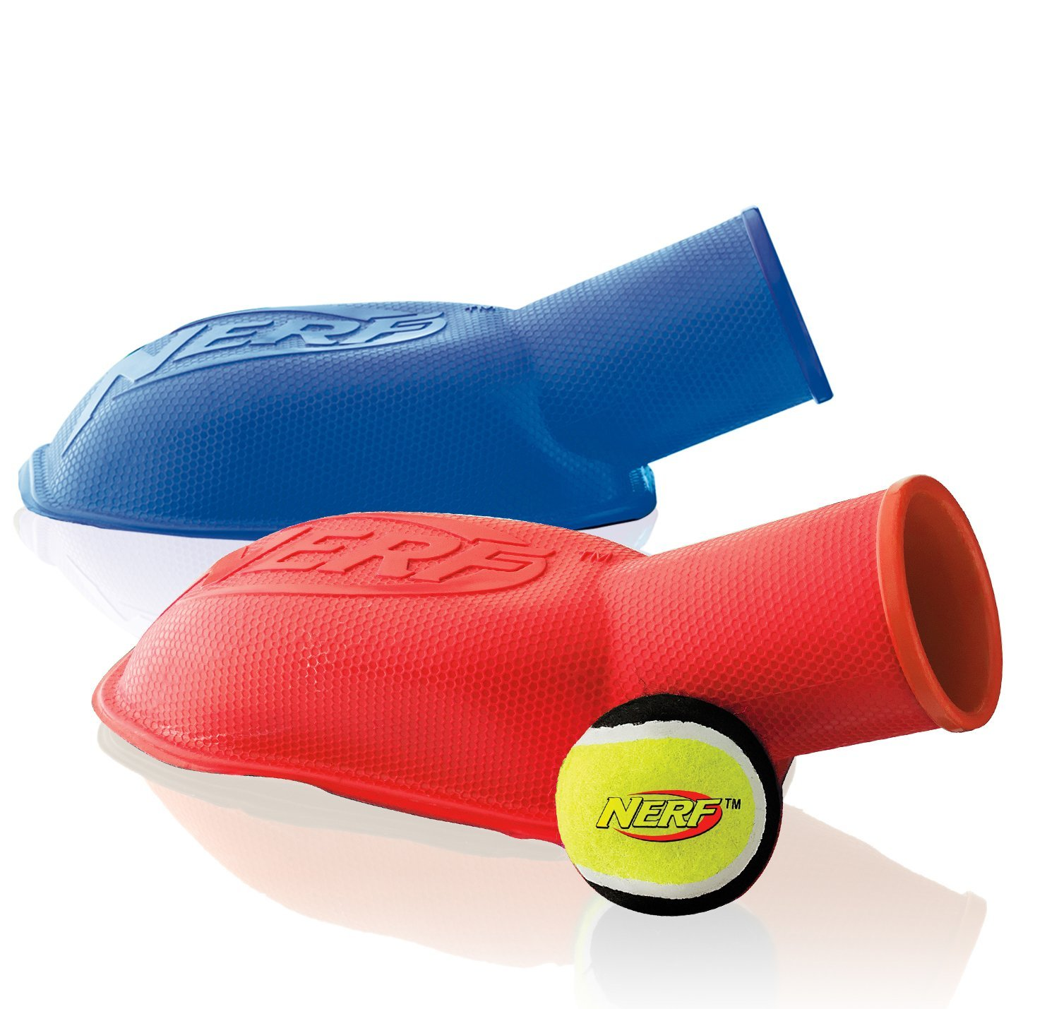 Nerf Dog Tennis Ball Stomp Launcher, 12-Inch, (2-Pack), Red and Blue