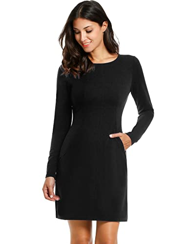 ANGVNS Womens Half Sleeve Seamed Sheath Dress Wear to Work Causal Party Pencil Dress