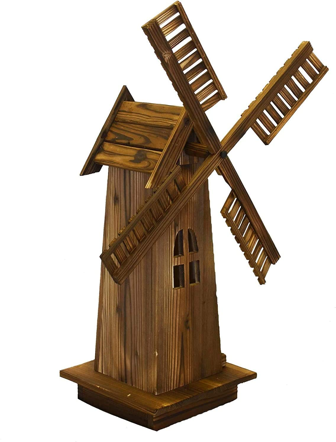 PierSurplus Wooden Dutch Windmill Back Yard Decorations - Classic Old-Fashioned Windmill for Garden, Patio-34 in Tall