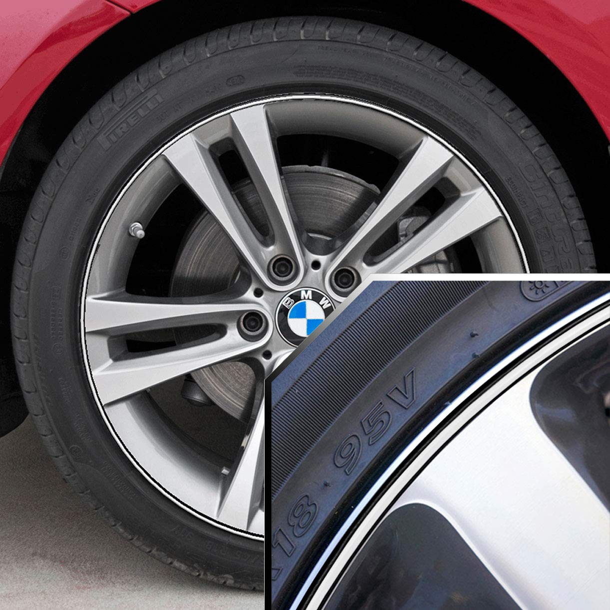 Upgrade Your Auto Wheel Bands Black in Black Pinstripe Rim Edge Trim for BMW I3