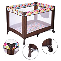 Costway Playard Baby Bassinet Travel Portable Toddler Bed
