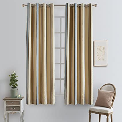 Vertical Stripe Brown And Blue Blackout Room Darkening Window Curtains Single Panel For Living With