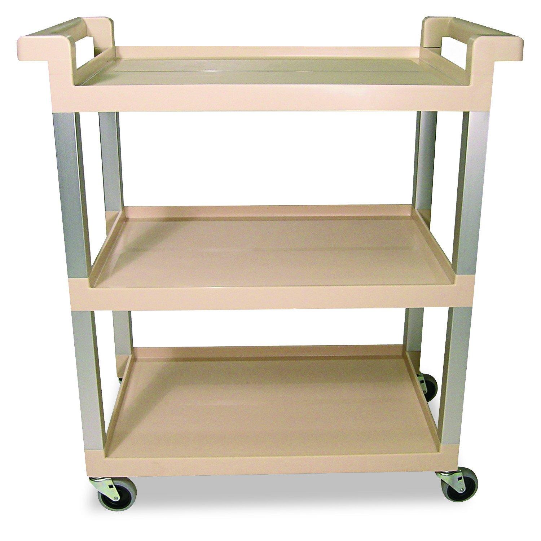 Rubbermaid Commercial 9T6571BG Three-Shelf Service Cart w/Brushed Aluminum Upright, 16-1/4 x 31-1/2 x 36, Beige
