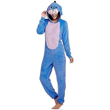 Para mujer Disney Eeyore una pieza unión Set traje de pijama para dormir, Azul