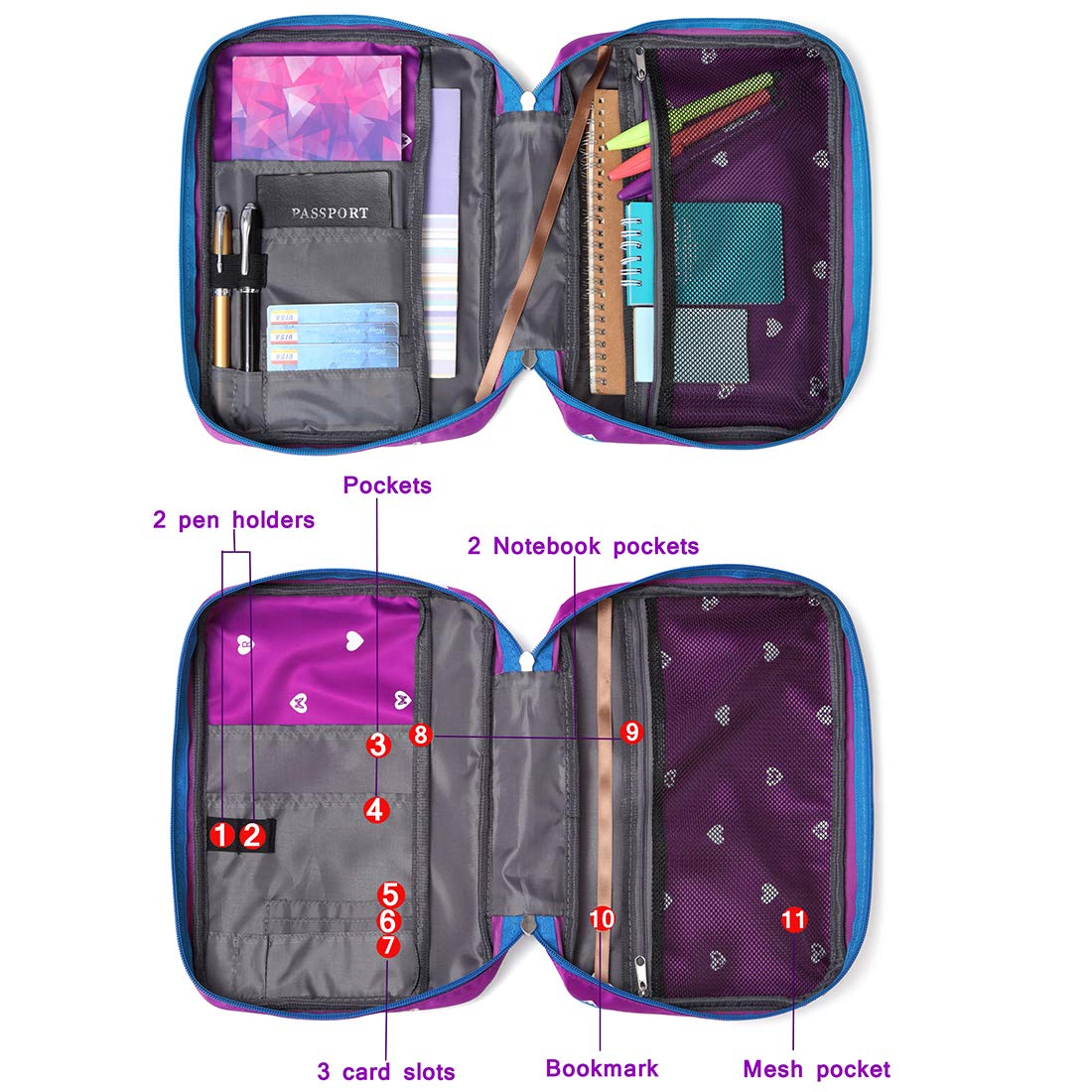 Kids Bible Covers for Girls Adventure Study Bible Carrying Case Carrier Purple Childrens Scripture Bag Good Holy Book Protector Catholic Lds Journal Storage Organizer Thinline Love with Pockets Zipper