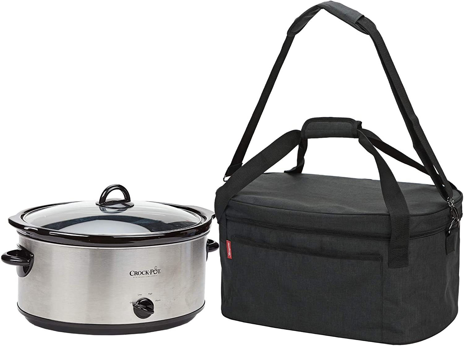 NICOGENA Lightweight Slow Cooker Carrying Bag With Easy to Clean Lining and Large Pocket for Accessories, Compatible with Crock Pot 6-8 Quart, Black