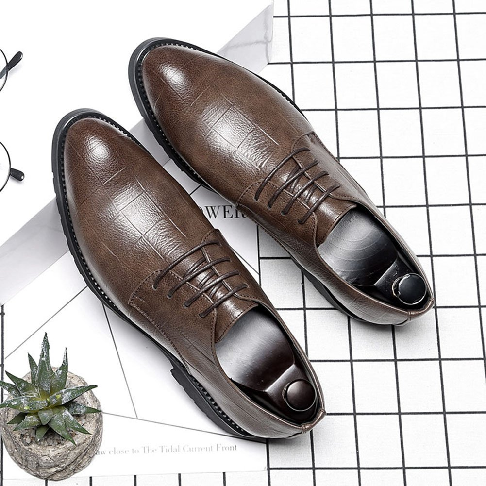 HTAO Mens British Style Plaid Pattern Dress Shoes