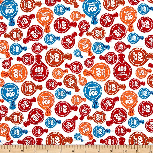 Christensen Wholesale 0538760 Riley Blake It's Tootsie Roll Time White Fabric by The Yard