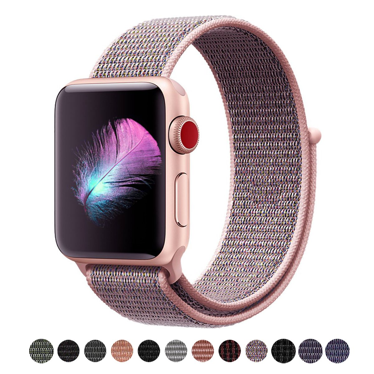 For Apple Watch Band,Yunsea New Nylon Sport Loop with Hook and Loop Fastener Adjustable Closure Wrist Strap Replacment Band for iwatch,38mm,Pink Sand