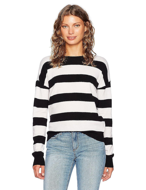 KENDALL + KYLIE Women's Striped Pullover Black/Bright White M [並行輸入品] B075CHSRQJ