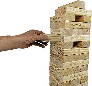 JacMok -Torre De Madera Maciza- Jumbo Tumble Tower- Family Stacking Games Toys (60 Pieces, 7 kg) 60 cm to 110 cm-Torre de Voltaje Gigante: Amazon.es: Juguetes y juegos