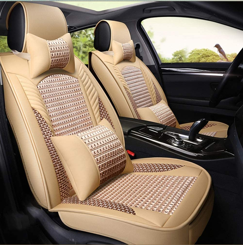 Universal Breathable Comfortable Brown Leather+Ice Silk Car Seat Headrest Pillow