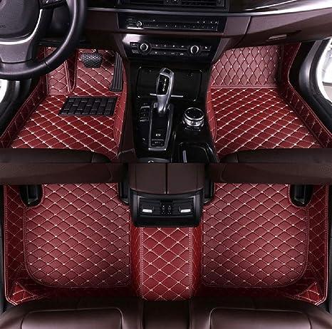Fußmatten Für C Hevy Camaro 2010 2015 2017 Rutschfeste Abnutzung Bodenmatten Leder Material Automatten Teppiche Weinrot Auto