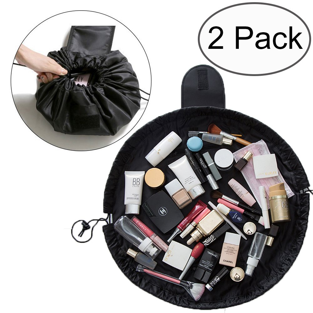 TANTO Lazy Makeup Bag Drawstring Cosmetic Bag Portable Quick Pack Travel Makeup Pouch Case Multifunctional Waterproof Toiletry Bags Makeup Brushes Storage Organizer Perfect for Women Girls (2 Pack)