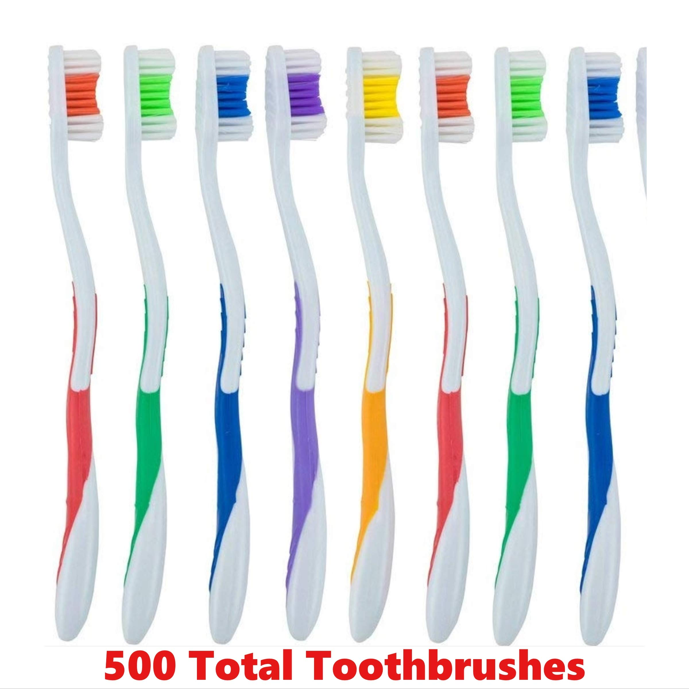500 Pack Toothbrushes Individually Wrapped Standard Medium Bristle, for Travel, Hotel, Guests, Disposable use and More