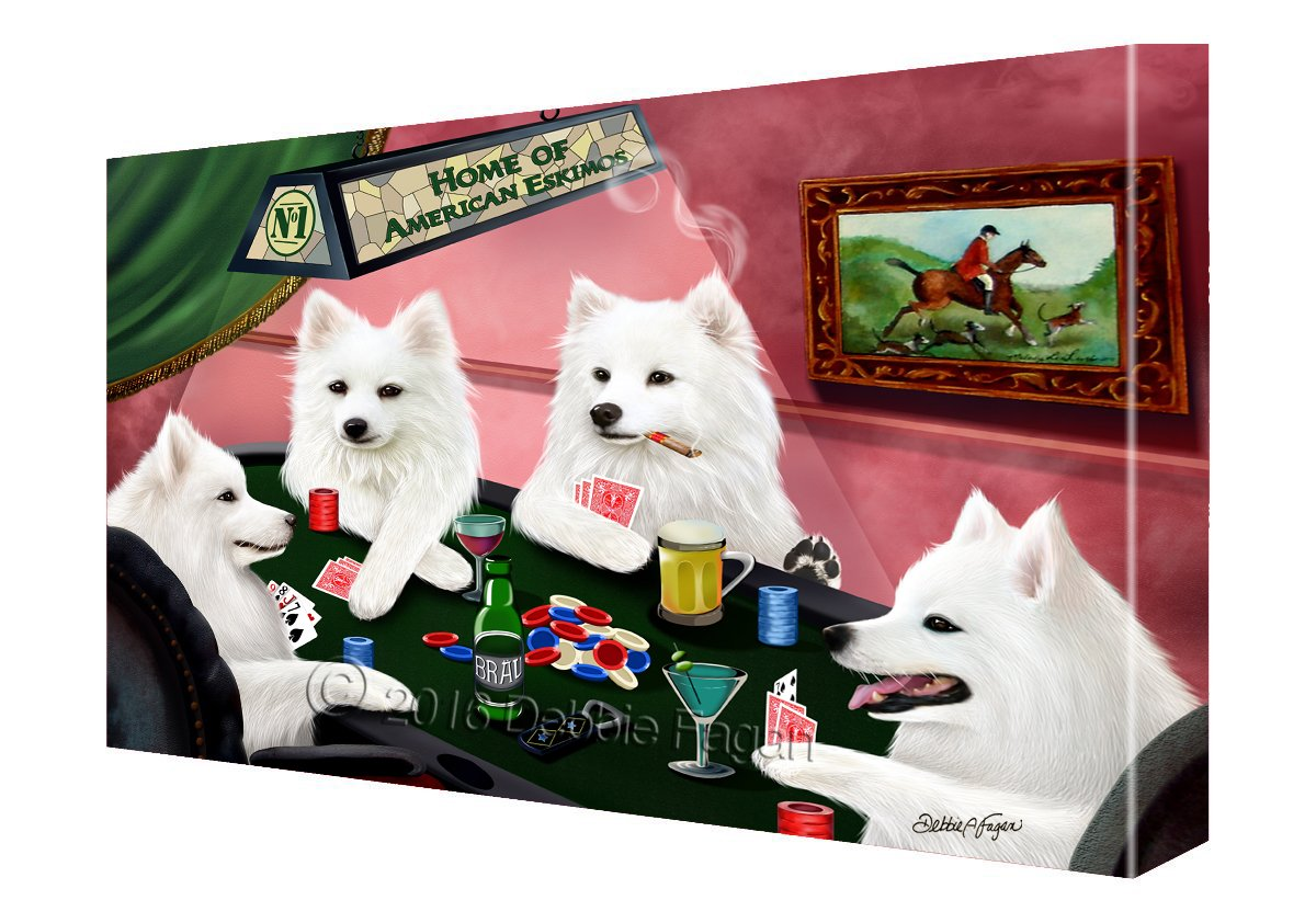 House of American Eskimo Dogs Playing Poker Canvas (24x36)