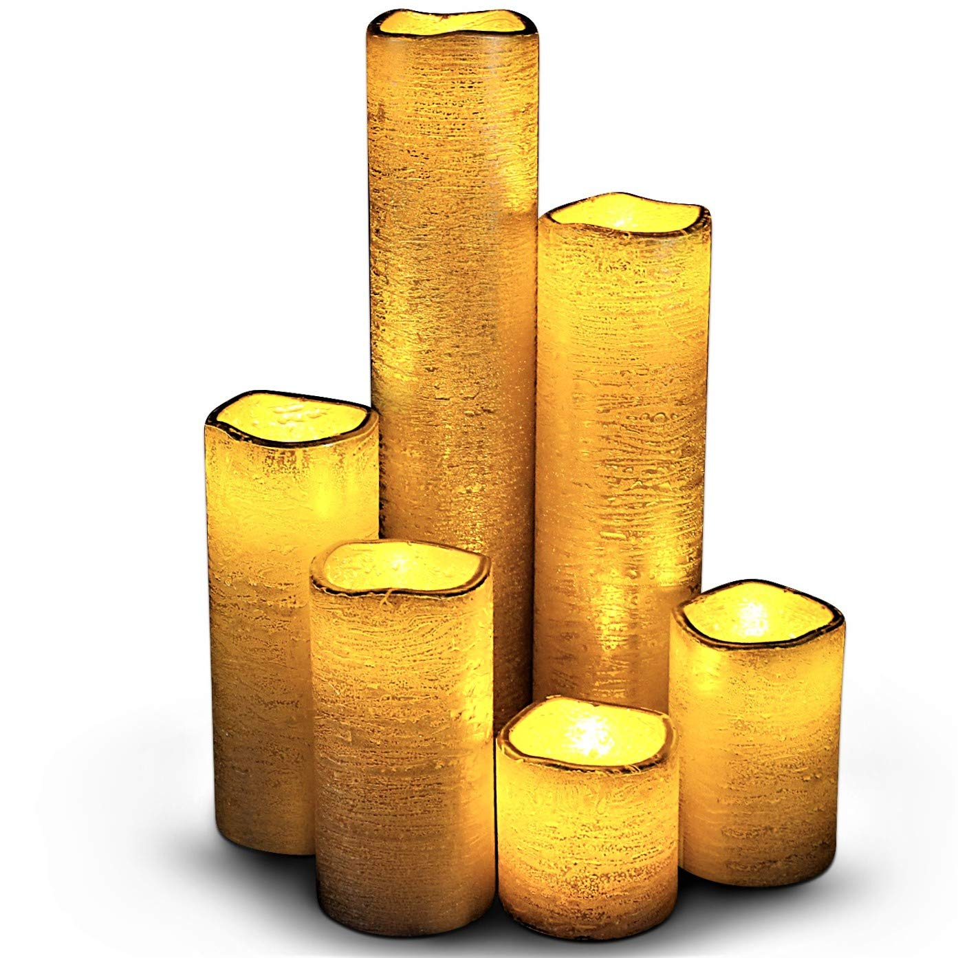 "Flameless LED Candles with Timer Slim Set of 6, 2"" Wide and 2""- 9"" Tall, Rustic Gold Coated Wax and Flickering Amber Yellow Flame by LED Lytes Flameless Candles"