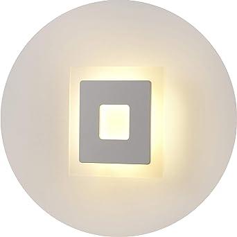 Topmo-plus 18W Lámpara de pared LED apliques para Dormitorio, salón, escalera y salones / 160 * 160 * 35 mm/Lámpara de pasillo llevado/vidrio+aluminio cepillado 1260 Lumen Blanco Cálido 3000KB: Amazon.es: Iluminación