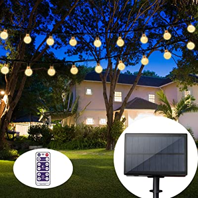 Solar String Lights Globe 36 Feet 60 Crystal Balls Waterproof LED Fairy Lights 8 Modes Outdoor Starry Lights Solar Powered String Light for Garden Yard Home Party Wedding Decoration (Warm White) : Garden & Outdoor