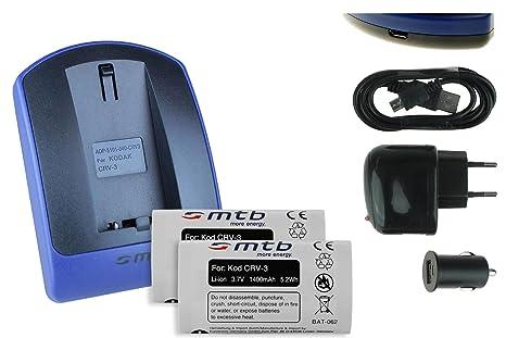 2 Baterìas + Cargador (USB/Coche/Corriente) para CR-V3 / Kodak, Olympus, Pentax, Samsung, Sigma, Toshiba. Ver Lista