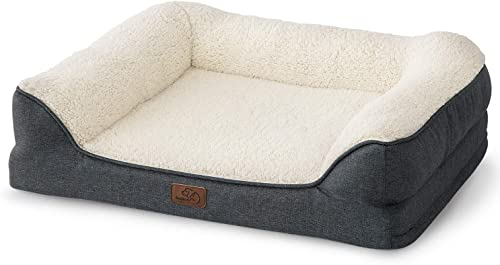 Bedsure Orthopedic Pet Sofa Beds for Small, Medium, Large Dogs – Large Dog Beds – Memory Foam Couch Dog Bed with Removable Washable Cover – Bolster Dog Beds, Nonskid Bottom