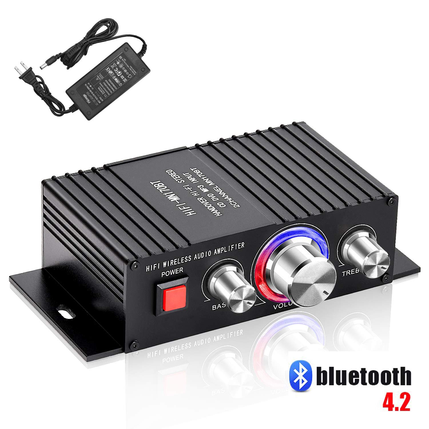 HiFi Audio Mini Amplifier with Power Cord DC 12V 3A - Bluetooth 4.2 Digital 2 Channel 30W x 2 Home Stereo Power Amplifiers with Blue LED Indicator Black (Amplifier Adapter)