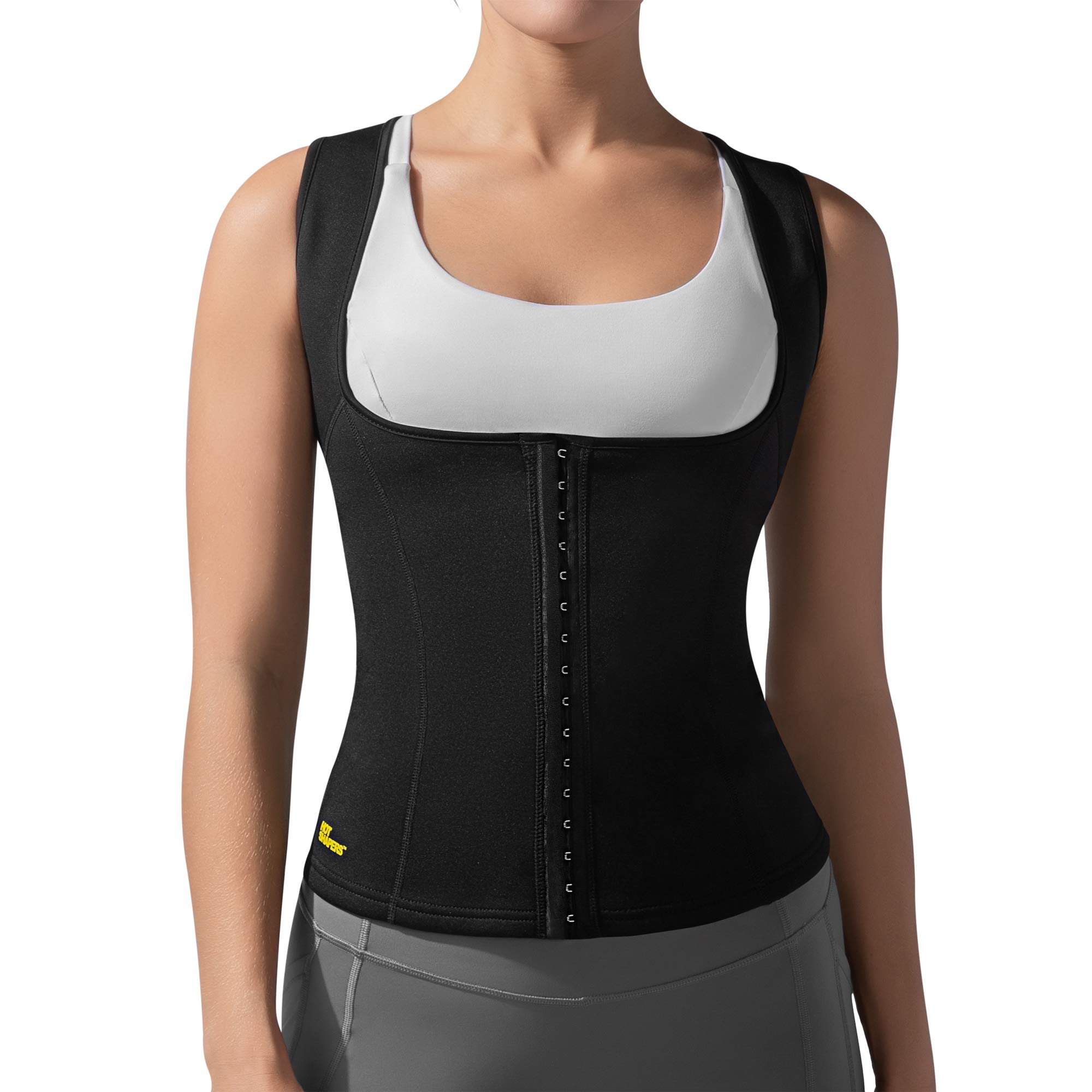 Hot Shapers Cami Hot Waist Cincher - Slimming Sweat and Workout Vest for Weight Loss - A Thermogenic Sauna Body Suit and Compression Girdle for Women Achieving a Slim Figure (Small, Black)