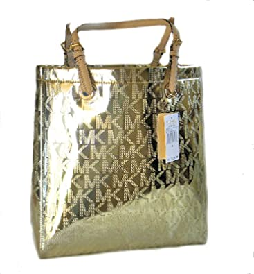 1b8ead7a84 Michael Kors MK Monogram Mirror Metallic Jet Set NS North South Tote Pale  Gold  Handbags  Amazon.com
