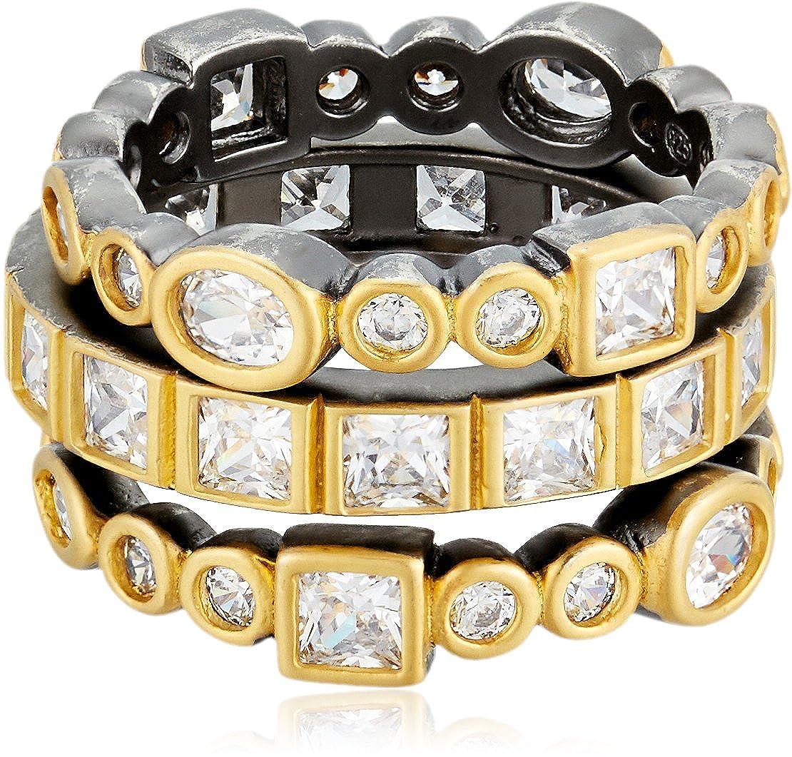Freida Rothman Womens Signature Mixed Stone Radiance Set of 3 Stackable Ring Black & Gold Size 6 YRZR090059B-6