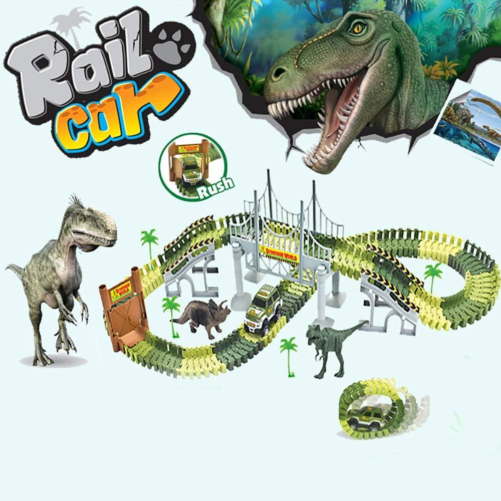 Noetoy Dinosaur Toys 142 PCS Flexible Train Rail Car with Two Dinosaur Figurines for Create A Dinosaur World Road Race 3 4 5 6 Year /& Up Old Boys Girls Birthday Gift