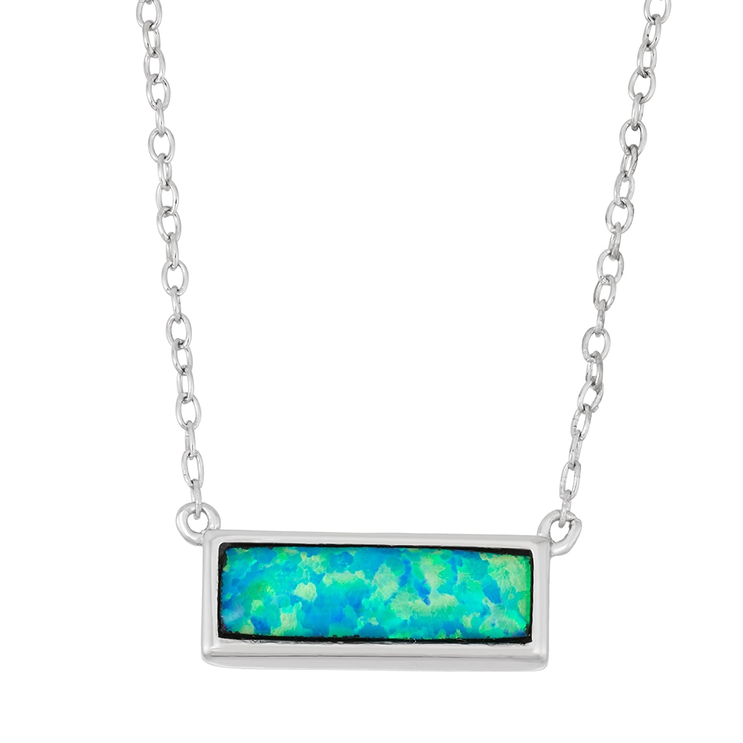 """Sterling Silver 16"""" + 2"""" Created Blue Opal Small Bar Necklace"""