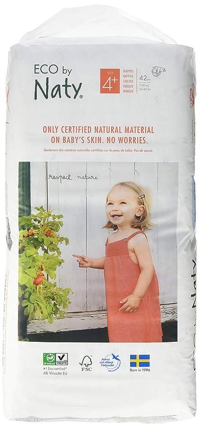 Pañales desechables Eco by Naty Premium para pieles sensibles, tamaño 4+, 9-