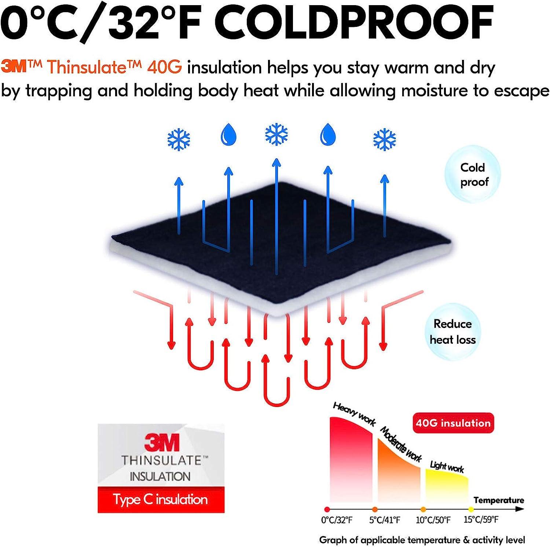 Vgo 1 Pair 0/°C//32/°F Waterproof High-Dexterity Heavy-Duty Winter Mechanic Work Gloves w//3M Thinsulate Lining Impact /& Vibration Reduction Black, SL8849FW